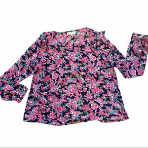 UMGEE Romantic Ruffled Floral Top in Navy & Pink